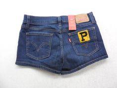 Levi's Womens Shortie Shorts Medium Wash Denim Pittsburgh Pirates Baseball Jean Shorts Size 27 by KCteedesigns on Etsy