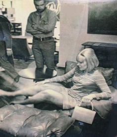Actress Kim Novak was captured reclining in this picture during a visit to Rodrigues' design firm in Brazil, Oca Industries.