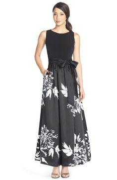 Ellen Tracy Jersey & Print Satin Ballgown available at #Nordstrom