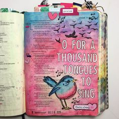 Bible Journaling Inspiration - Oh For a Thousand Tongues to Sing