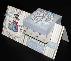 Super cute way for small presentations - place card with mints or door treat Pop Up Box Cards, 3d Cards, Holiday Cards, Christmas Cards, Card Boxes, Blue Christmas, Fancy Fold Cards, Folded Cards, Shaped Cards