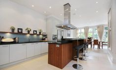 kitchen with large wooden island