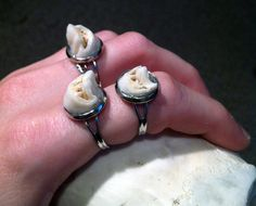 Cameo Set Real Deer Tooth Adjustable Silver Ring by BoneLust on Etsy