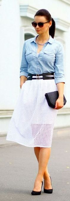 White Eyelet Skirt/ great work look