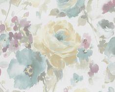 RW5017 Wallpaper Paste, Wallpaper Online, New Wallpaper, Bedroom Wallpaper, Wooden Curtain Poles, House Inside, Wall Patterns, Watercolor Flowers, Copenhagen