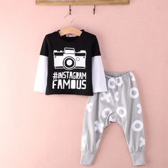 Toddler Autumn clothing set 2015 Baby Boys 2pcs Outfits INS FAMOUS T shirt Loose Pants Clothes Set 0 24M Newborn suit-in Clothing Sets from Mother & Kids on Aliexpress.com | Alibaba Group