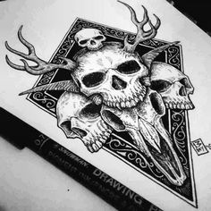 Creepy Tattoos, Skull Tattoos, Body Art Tattoos, Sleeve Tattoos, Tattoo Sketches, Tattoo Drawings, Art Sketches, Art Drawings, Skull Tattoo Design