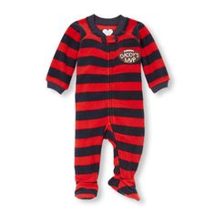 a4f48d575c Baby Boys Baby And Toddler Boys Long Sleeve  Daddy s Mvp  Graphic Striped  Blanket Sleeper - Red - The Children s Place