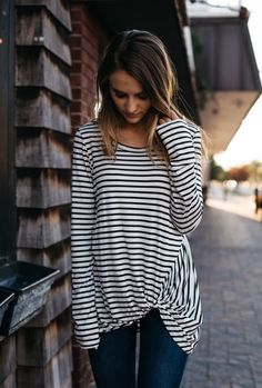 Striped tied up one sided tee. Love the rushing side detail. #sponsored