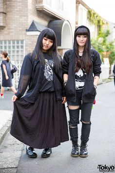 Harajuku Girls in Black Fashion w/ Hoodie, Ripped Jeans, Boots & Studded Accessories (Tokyo Fashion, 2015)