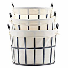 A perfect storage solution that's also really chic. Round Metal Basket with Handle #ModernFarmhouse