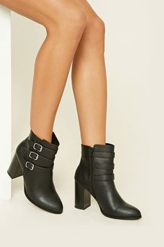 Faux Leather Buckle Booties