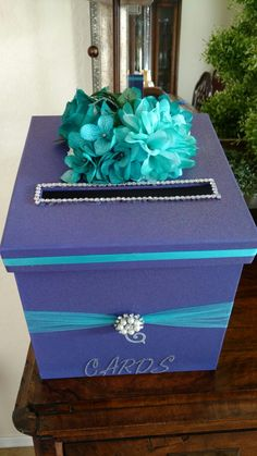Love Wedding Cakes Purple and Teal Wedding Card Box Teal Wedding Decorations, Teal Centerpieces, Wedding Colors, Wedding Prep, Wedding Planning, Dream Wedding, Wedding Ideas, Wedding Music, Wedding Stuff