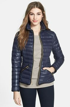 MICHAEL Michael Kors Faux Leather Trim Down Jacket available at #Nordstrom