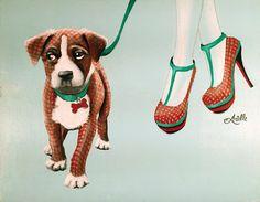 BOXER MATCHES Print from Original Painting, Dog Walk, Dog Print, Boxer Print, Shoe Art, Dog Art