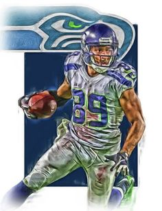 Doug Baldwin Print featuring the mixed media Doug Baldwin Seattle Seahawks Oil Art by Joe Hamilton