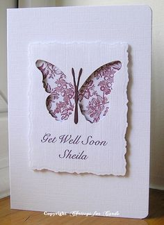 handmade get well card ... small panel with ragged die cut edges ... negative space butterfly die cut reveals pretty print paper ... wonderful card!
