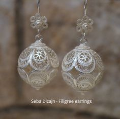 Some large & fabulous filigree bead earrings, handmade here in Korcula by Seba Dizajn.