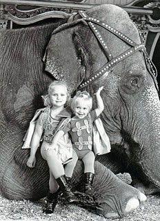 Circus children with elephant
