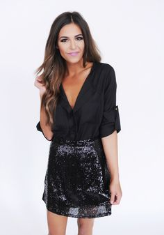 Black Sequin Skirt - Dottie Couture Boutique