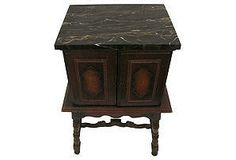 Copper lined depression-era humidor / smoking stand with marble top. Lots of character, wear commensurate with age.