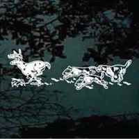Deer hunting dogs vinyl car decals.