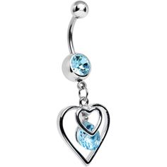 Aqua Gem Twice the Heart Dangle Belly Ring | Body Candy Body Jewelry #bodycandy