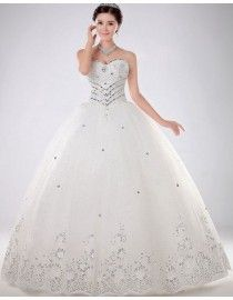 Sweetheart luxurious rhinestone beaded basque sliver lace appliques tulle ball gown chapel wedding dresses TB-069