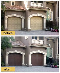 Our Canyon Ridge collection of faux-wood garage doors beautifully blend durability and style. See them today! Garage Door Makeover, Exterior Makeover, Exterior Paint Colors, Exterior House Colors, Stucco Colors, Stucco Exterior, Exterior Design, Faux Wood Garage Door, Garage Builders