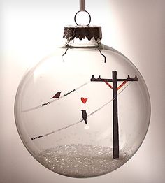 Glass Birds In Love Holiday Ornament by Glak Love on Scoutmob Shoppe. A little scene of birds in love, cut from old film negatives.