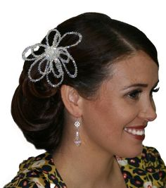Handmade swarovski crystals flower hair comb/ hair piece. Perfect for bride wedding, bridesmaid or formal.  www.redki.com.au Hair by Ultimate Bridal, Hair piece and jewellery by Redki Wearable Art.