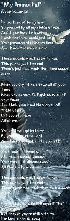 """My Immortal"" - Evanescence.. Beautiful piece of music , this reminds me of my Jason, he loved this song."