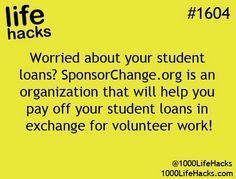 1000 Life Hacks: How about help paying off college loans in exchange for volunte. - 1000 Life Hacks: How about help paying off college loans in exchange for volunteer work 1000 - College Life Hacks, Life Hacks For School, College Tips, School Tips, School Stuff, College Memes, Bible College, College Essentials, College Planning