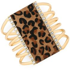 Guess Gold-Tone Crystal Faux Leopard Charm Cuff Bracelet ($8) ❤ liked on Polyvore featuring jewelry, bracelets, gold, crystal cuff bracelet, charm jewelry, cuff bracelet, hinged cuff bracelet and cat charm
