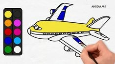 Drawing Toy Airplane Coloring and Painting Learn Colors for Kids, Toddle...