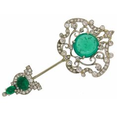 Cartier Art Deco Emerald Diamond Platinum Jabot Pin Brooch 1