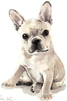 French Bulldog Puppy Cute & Innocent ORIGINAL by LauraRowStudio #watercolorarts