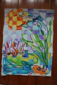 W - Watercolor Weaving, make two identical pictures (draw outline with colorful permanent markers on watercolor paper, then paint with watercolor), once dry, cut one picture into horizontal strips and the other into vertical strips, weave pictures together and secure edges with glue