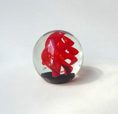 Vintage clear hand blown red swirl bubble glass paper by evaelena