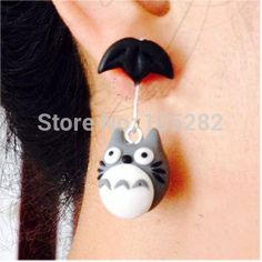 2014 New(6pcs/lot)handmade Women'Clay Polymer Umbrella Totoro Silver Dangle ...
