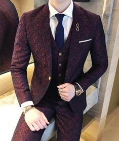 Mens Wedding Suits 2018 Terno Masculino Slim fit 3 Piece Mens Suits Burgundy Soc… News 2019 Indian Men Fashion, Mens Fashion Suits, Mens Suits, Beard Fashion, Groomsmen Suits, Womens Fashion, Fashion Hair, Fashion 2018, Men Wear