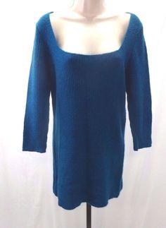 XHILARATION Dark Teal Blue Ribbed Sweater Dress Big Square Neck ¾ Sleeves XL #Xhilaration #sweaterdress