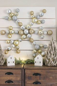 Neutral Rustic DIY Snowflake Ornament Display with The Home Depot   Christmas DIY   http://ahouseandadog.com {ad}