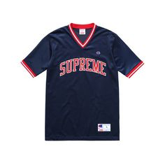 Supreme Supreme/Champion Shooting Jersey ($98) ❤ liked on Polyvore featuring tops, shirts, blue jersey, champion shirt, jersey top, shirt top and shirt jersey