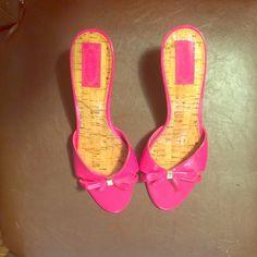 "Nickels 2""heel pink sandals Bright pink heeled sandal. 2"" heel bow with silver grommet in center. Cork looking sole. Euc size 10 Nickels Shoes Heels"