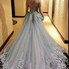 A350 gray prom dresses,backless prom dress,lace prom dress,gray prom dresses,formal gown,ball gown evening gowns,modest party dress,prom gown for teen
