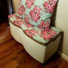 Restored Lloyd Loom Ottoman Vintage White Gold County Rose Print & 2 Matching Cushions