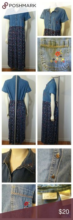 Bobble Brooks Denim Floral Long Dress Bobbie Brooks Women's Large 12/14 Blue Floral Denim Jumper Dress Full Length  Freshly washed clean in gently worn condition  Top denim is 100% cotton Bottom floral skirt is 100% rayon Ties in back Machine wash cold Tumble dry low  Top denim is 14 1/2 inches long Bottom floral skirt is 34 12 inches long Waist is 17 inches across Chest is 20 inches across Shoulders are 16 inches across  Smoke Free Fast Shipping Thank you and Happy Poshing! Bobbie Brooks…