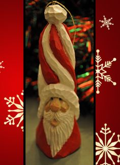 Hand Carved Santa Christmas Ornament 4.25 by WildWoodWizard, $15.00
