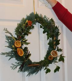 I made this using a Willow base and decorated with ivy, holly, orange, lemon and staranise. Ivy, Christmas Wreaths, Lemon, Sketches, Base, Orange, Holiday Decor, Happy, Home Decor
